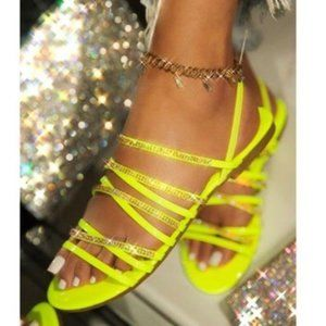 Embellished Strappy Slingback Sandal - Neon Yellow